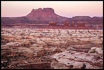 Chocolate drops, Maze canyons, and Elaterite Butte at dawn. Canyonlands National Park, Utah, USA. (color)