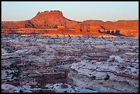 Chocolate drops, Maze canyons, and Elaterite Butte at sunrise. Canyonlands National Park, Utah, USA. (color)