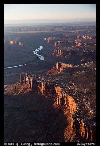 Aerial View of cliffs bordering Green River. Canyonlands National Park (color)
