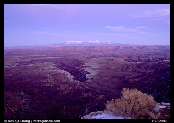 Side Gorge seen from Grand View Point, dusk, Island in the Sky. Canyonlands National Park (color)