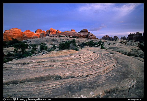 Sandstone swirls and Needles with last light, the Needles. Canyonlands National Park (color)