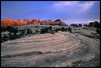 Sandstone swirls and Needles with last light, the Needles. Canyonlands National Park, Utah, USA. (color)
