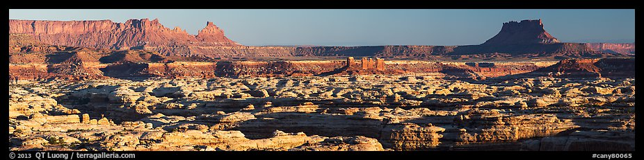 Maze canyons and Chocolate Drops from Standing Rock, early morning. Canyonlands National Park (color)