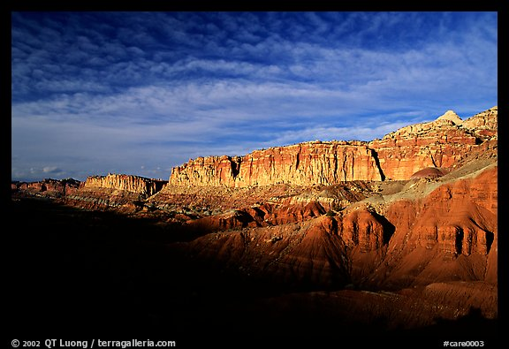Layers of rock on  West face of Waterpocket Fold at sunset. Capitol Reef National Park (color)