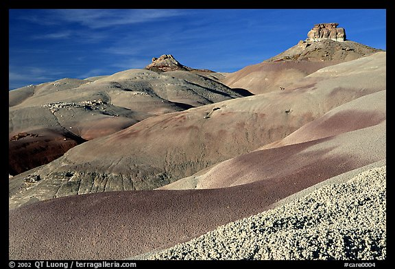 Badlands of  Bentonite hills, Cathedral Valley, afternoon. Capitol Reef National Park (color)
