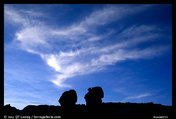 Twin boulders and clouds, dusk. Capitol Reef National Park (color)