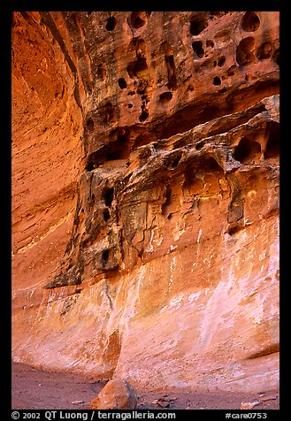 Holes in rock, Capitol Gorge. Capitol Reef National Park (color)