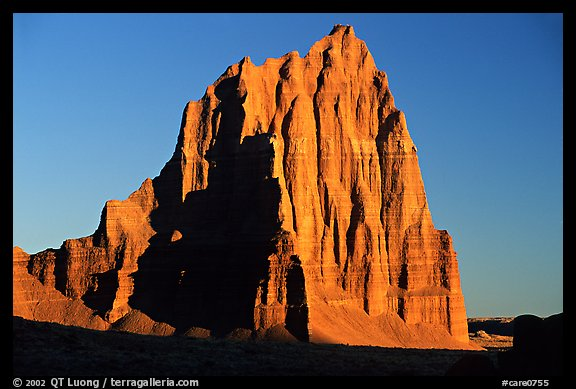 Temple of the Sun, sunrise, Cathedral Valley. Capitol Reef National Park (color)