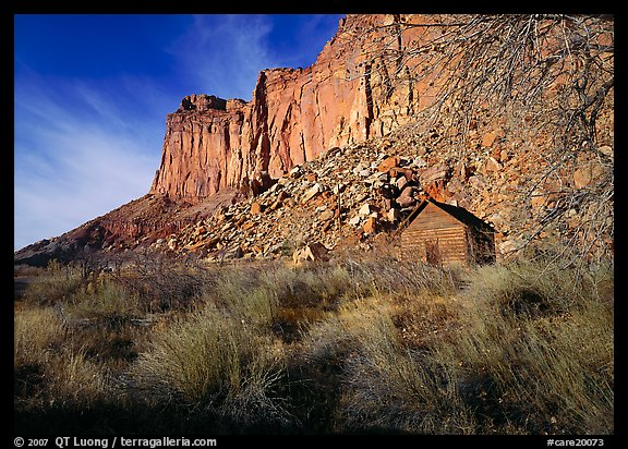 Historic Fuita school house and cliffs. Capitol Reef National Park (color)