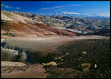 Bentonite hills and Henry Mountains. Capitol Reef National Park ( color)