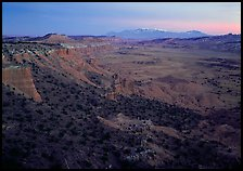 Cliffs, basin, and snowy mountains at dusk, Upper Desert, dusk. Capitol Reef National Park ( color)