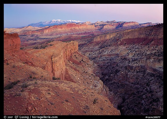 Capitol Reef section of the Waterpocket fold from Sunset Point, dusk. Capitol Reef National Park (color)