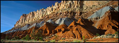 Multi-colored cliffs of Waterpocket Fold. Capitol Reef National Park (Panoramic color)