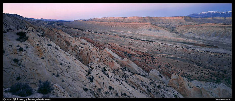 Earth crust wrinkle of  Waterpocket Fold at dusk. Capitol Reef National Park (color)