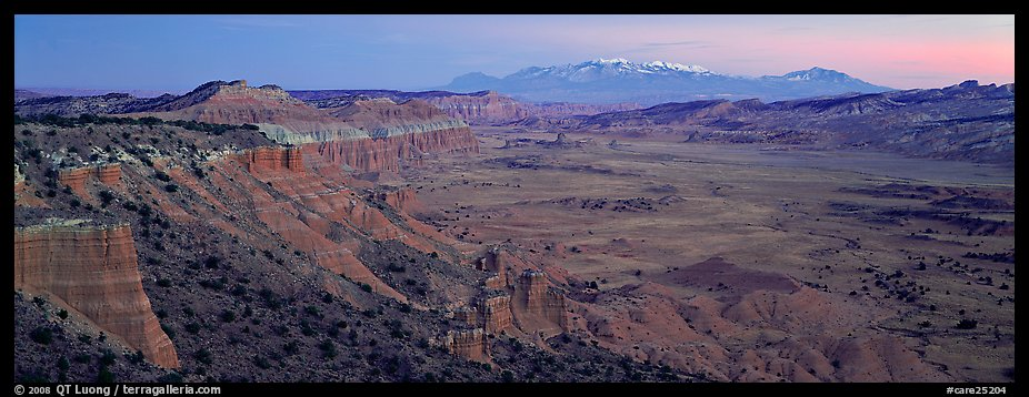 Desert view with cliffs and mountains at dusk. Capitol Reef National Park (color)