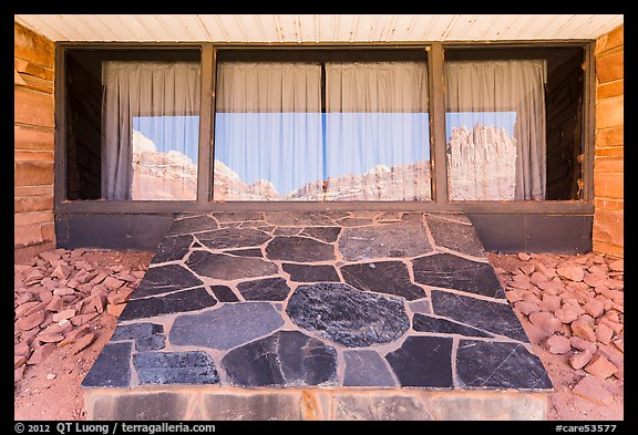The Castle, Visitor Center window reflexion. Capitol Reef National Park (color)