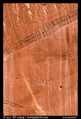 Fremont Petroglyphs of animals. Capitol Reef National Park (color)