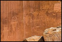 Fremont Petroglyphs of human figures. Capitol Reef National Park, Utah, USA. (color)