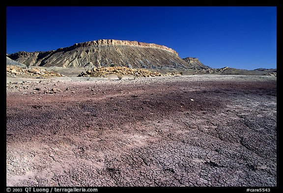 Colorful Bentonite flats and cliffs. Capitol Reef National Park (color)