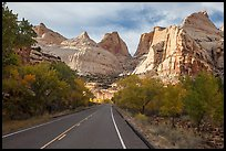 Road and domes in Fremont River Canyon. Capitol Reef National Park, Utah, USA.