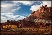 Late afternoon light on Castle and cottowoods in autumn. Capitol Reef National Park, Utah, USA.