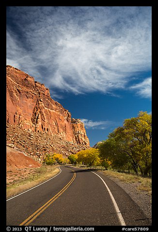 Road, Fruita Orchard in the fall. Capitol Reef National Park (color)