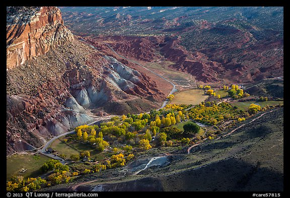 Fruita campground from above in autumn. Capitol Reef National Park (color)