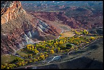 Fruita campground from above in autumn. Capitol Reef National Park, Utah, USA.