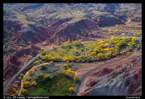 Fruita historic orchards from above in autumn. Capitol Reef National Park (color)