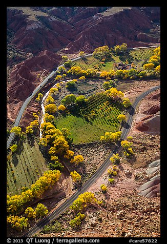Fruita orchards in the fall, seen from above. Capitol Reef National Park (color)