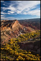 Waterpocket Fold  and orchards in the fall from Rim Overlook. Capitol Reef National Park, Utah, USA. (color)