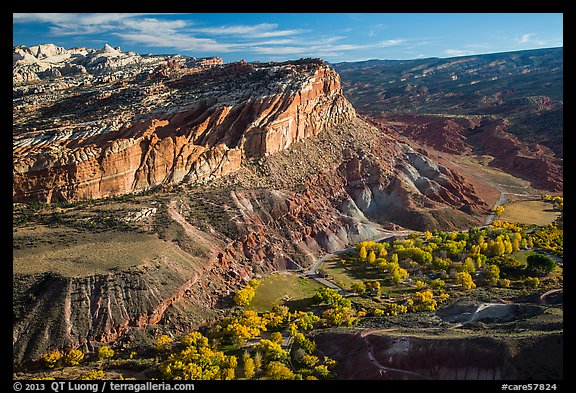 Waterpocket Fold cliffs and orchards from Rim Overlook in the fall. Capitol Reef National Park (color)