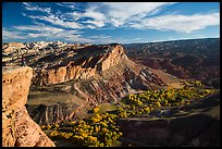 Park visitor looking, Rim Overlook over Fruita. Capitol Reef National Park, Utah, USA. (color)