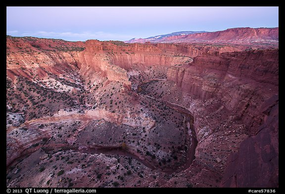 Goosenecks of Sulfur Creek and Waterpocket Fold at dawn. Capitol Reef National Park (color)
