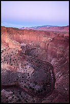 Sulfur Creek Goosenecks and Waterpocket Fold at dawn. Capitol Reef National Park ( color)