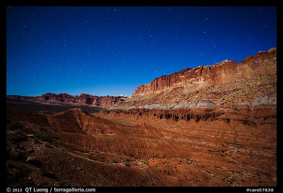 Fluted cliffs of Waterpocket Fold at night. Capitol Reef National Park (color)