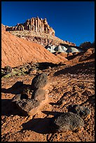 Balsalt Boulders and Wingate Sandstone crags of the Castle. Capitol Reef National Park ( color)