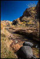 Basalt boulders, Pleasant Creek in the fall. Capitol Reef National Park, Utah, USA. (color)