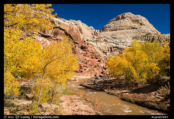 Fremont River and Capitol Dome in autumn. Capitol Reef National Park (color)