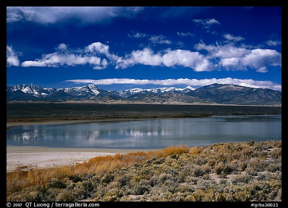 Sagebrush, lake, and Snake Range. Great Basin  National Park (color)