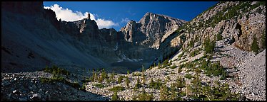 Rocky cirque and Wheeler Peak. Great Basin National Park (Panoramic color)