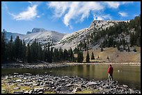 Visitor looking, Stella Lake. Great Basin National Park, Nevada, USA. (color)