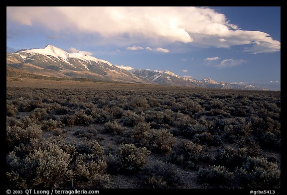 Snake Range and Wheeler Peak above sagebrush flats, from the West. Great Basin National Park (color)