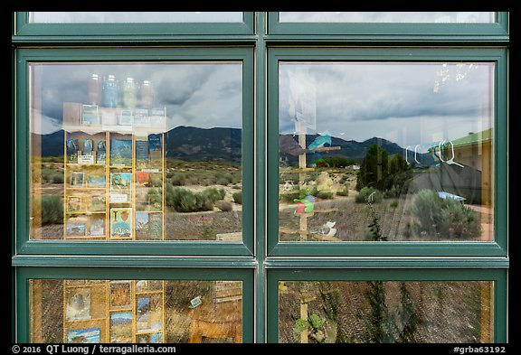 Snake Range, Great Basin Visitor Center window reflexion. Great Basin National Park (color)