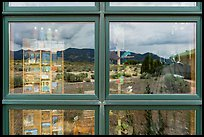 Snake Range, Great Basin Visitor Center window reflexion. Great Basin National Park ( color)