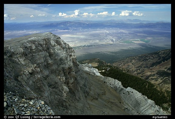 Cliffs below Mt Washington overlooking Spring Valley, morning. Great Basin National Park (color)