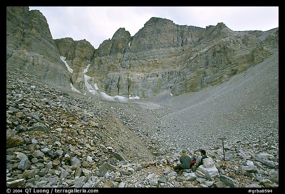 Hikers at the base of the North Face of Wheeler Peak. Great Basin National Park (color)