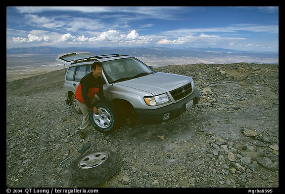 Flat tire on Mt Washington. Great Basin National Park (color)