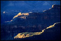 Ridges from Bright Angel Point, sunrise. Grand Canyon National Park ( color)