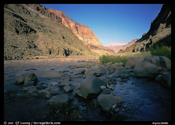 Bottom of Grand Canyon with Tapeats Creek joining  Colorado River. Grand Canyon National Park (color)
